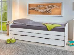 Witte Interlink Zitbank-slaapbank LOTAR 90x200 in massief dennenhout wit gelakt