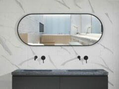 Mawialux spiegel met zwarte rand   160x60cm   Ovaal   Verwarming   MR316060
