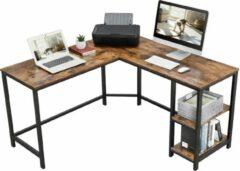 Acaza L-Vormig Hoekbureau met Legplanken en 2 Tafelbladen - Bureau met Vintage Look - 138x138x75cm - Zwart/Bruin