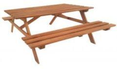 Bruine VKT Tuintafel Hardhouten Picknicktafel Economy, L160xB150xH75 cm, Afmetingen tafelblad L70xB160cm, Houtdikte blad en zitting: 3,0 cm