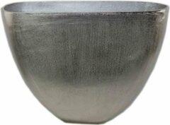 Zilveren Sense Ovaal vaas - Aluminium vazen - Bloemvaas - Vaas gepolijst - Bloempotten - Vensterbank vaas- boeket vaas