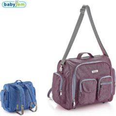 Roze Baby Jem Babyjem-Denim-Luiertas-Maroon&Grijs-39,4x34,2x11,4 cm-Rugtas-2 in 1