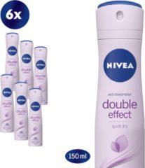 NIVEA Double Effect Deodorant Spray - 6 x 150 ml - Voordeelverpakking