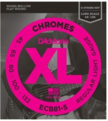 D'Addario ECB81-5 45-132 Chromes 5-string Flatwound Stainless