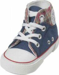 Blauwe Playshoes canvas babyschoentjes marine ruit