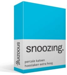 Snoozing Percale Katoen Hoeslaken Extra Hoog - 100% Percale Katoen - Lits-jumeaux (180x220 Cm) - Turquoise