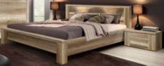 Bett 180 x 200 mit Nachtkommoden-Set Eiche antik FORTE MÖBEL Calpe