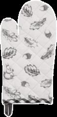 Ovenhandschoen | 16*30 cm | Grijs | 100% Katoen | eekhoorn met herfstbladeren | Clayre & Eef | LIF44