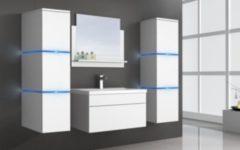 Home Deluxe Wangerooge Badmöbel-Set weiß, ca. 121 cm breit mit Seitenschrank und Spiegel (Gr. XL)