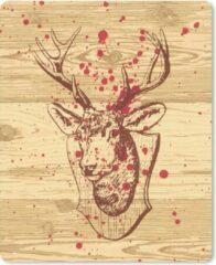 MousePadParadise Muismat Opgezette dieren illustratie - Een illustratie van een bebloed opgezet hert muismat rubber - 19x23 cm - Muismat met foto