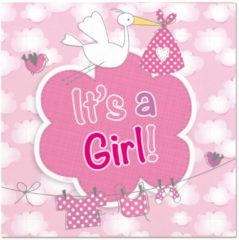Roze Ootje Kadootje Geboorte Meisje Servetten It's a Girl - 20 stuks