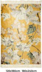 Gele Essenza Rosalee vloerkleed met bloemenprint