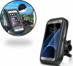 Zwarte Waterdichte Fietshouder voor alle Telefoons van 5.0 tot 6.3 inch – Waterproof en Dustproof Bike Mount Holder – Fiets Stuur Houder voor onder andere Samsung Galaxy S5 (Neo) / S6 (Edge) (Plus) / S7 (Edge) / A3 A5 / A7 (2017) / J3 J5 J7 (2016)