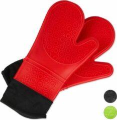 Relaxdays ovenwanten siliconen - antislip - ovenhandschoenen - bbq handschoenen rood