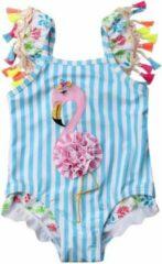 Blauwe Merkloos / Sans marque Badpak - Flamingo - Ibiza - Zwempak - Meisjes - Maat 98/104
