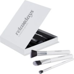 Witte Relaxdays make up kwasten set - kwastenset - foundationkwasten - poederkwast - brushes
