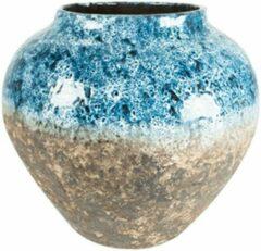 Lichtblauwe Plantenwinkel.nl Plantenwinkel Jar Lindy Sky Blue blauwe pot 45 cm ronde bloempot voor binnen