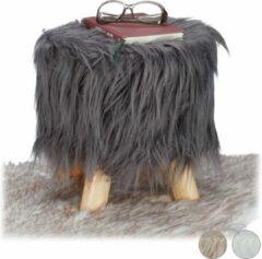 Relaxdays Krukje met vacht - houten krukje - houten kruk - laag krukje - nepbont - 4 poten grijs