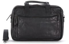 Bruine Bear Design Hugo Leren Laptoptas - 14 inch - Zwart