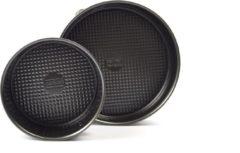 2x Discountershop - Bakvorm - Metaal - Zwart - Met Anti-Aanbaklaag - 2 Stuks - 18cm + 26cm