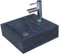 Antraciet-grijze Fonteinset Sanilux Square Hardsteen met kraan, waste & sifon 30x30x10cm