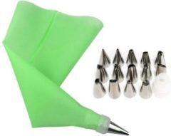 Cabantis Siliconen Spuitzak met Spuitmondjes|16-delig|Garneerspuit|Slagroomspuit|Decoratie|Decoratieve Accessoires|Groen
