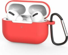 Coverz Siliconen Case Apple AirPods Pro rood- AirPods hoesje rood inclusief haak - AirPods case
