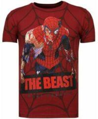 Rode Local Fanatic The Beast Spider - Rhinestone T-shirt - Bordeaux - Maten: XL