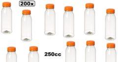 Transparante Merkloos / Sans marque 200x Flesje PET helder 250cc met oranje dop - drink fles vruchten sap limonade drank
