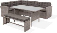 Beliani Viterbo Loungeset Grijs Wicker 234x177x74