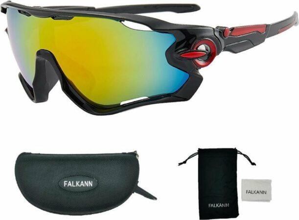 Afbeelding van Falkann Fietsbril Met Hoes | Sportbril | Racefiets | Mountainbike | MTB | Sport Fiets Bril| Zonnebril | UV Bescherming | Zwart/Rood