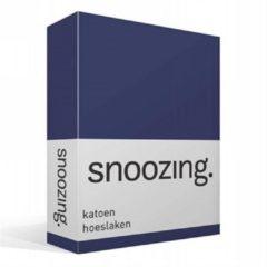 Snoozing katoen hoeslaken - 100% katoen - Lits-jumeaux (160x220 cm) - Blauw, Navy