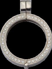Quoins QHO-09S-E Munthouder staal zilverkleurig met zirconia Small