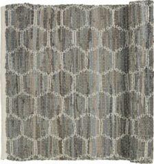Grijze Broste Copenhagen Vloerkleed 'Patrik' leather/cotton - drizzle - w80xl250cm