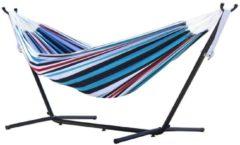 SORARA Outdoor Living Hangmat / Ligbed | SORARA | Gestreept (Denim) | Robuust | Voor 2 personen / 2 persoons | Hoogwaardige Kwaliteit