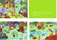 Vikids 3-in-1 3*66 stuks Dubbelzijdig hout puzzels in houten geschenkdoos - Hout puzzel - Dieren - Kinderpuzzel - Educatief speelgoed voor kinderen