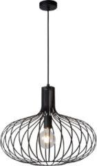 Zwarte Lucide Verstelbare Hanglamp Manuela 1-Lichts Ø50 x H40 cm - Metaal Zwart