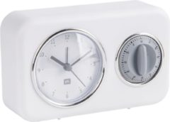 Pt, (Present Time) Nostalgia - Tafelklok met kookwekker - Plastic - 17x11x6cm - Wit