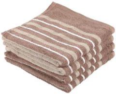 SEASTAR Superflausch Handtuch, beige, Streifen, 4er-Set