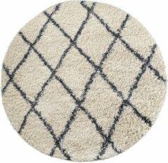 Creme witte Aledin Carpets Ibiza - Rond Vloerkleed 150 cm - Hoogpolig - Shaggy - Tapijten woonkamer - Geruit