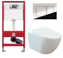 Douche Concurrent Tece Toiletset - Inbouw WC Hangtoilet wandcloset - Creavit Mat Wit Rimfree Tece Now Glans Chroom