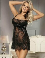 Zwart sexy kanten nachtjurkje   Maat 40/42   Stijlvol Sexy Lingerie
