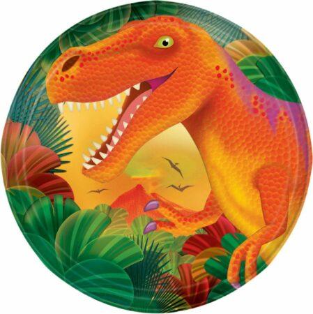 Afbeelding van Amscan Feestborden Dino 18 Cm 8 Stuks Oranje