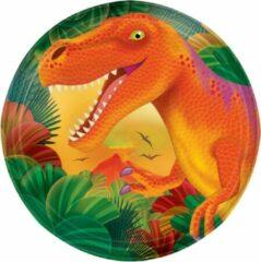 Amscan Feestborden Dino 18 Cm 8 Stuks Oranje