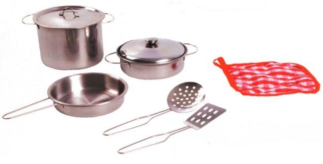 Afbeelding van Zilveren Johntoy Home and Kitchen stalen pannenset 8-delig