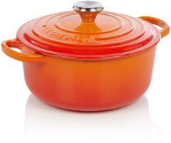 Rode Le Creuset Gietijzeren ronde braadpan in Oranje-rood 20cm 2,4l