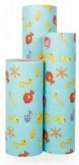 Blauwe Original Giftwrap Cadeaupapier Zeedieren - Rol 70cm - 200m - 70gr | Winkelrol / Toonbankrol / Geschenkpapier / Kadopapier / Inpakpapier