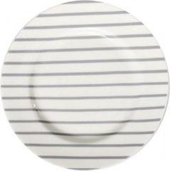 Bastion Collections - Dessertbord - wit grijs gestreept