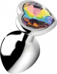 Zilveren Booty Sparks Rainbow Prism Heart Anal Plug - Medium - Silver