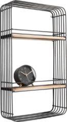 Present Time Decoratieve objecten Wall rack Linea rectangle w. 2 shelves Zwart